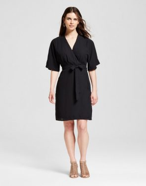 photo Kimono Sleeve Wrap Dress by S&P by Standards and Practices, color Black - Image 1