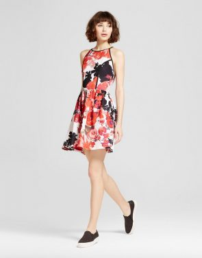 photo Printed Halter Fit & Flare Dress by Necessary Objects, color Multi - Image 1