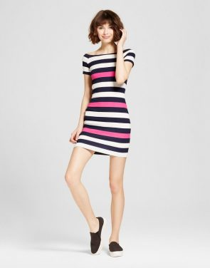 photo Stripe Off the Shoulder Dress by Necessary Objects, color Multi - Image 1