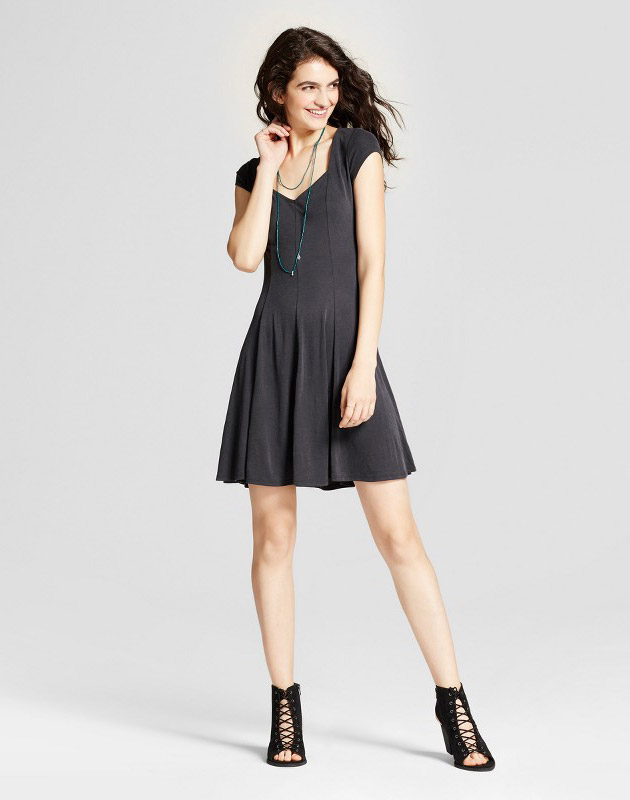 photo Fit and Flare Skater Dress by Mossimo Supply Co., color Black - Image 1