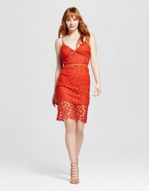 photo Lace Sheath Dress by Necessary Objects, color Bright Coral - Image 1