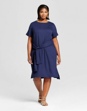 photo Plus Size Tie Waist T-Shirt Dress by Ava & Viv, color Navy - Image 1