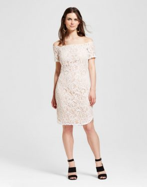 photo Lace Off the Shoulder Dress by Alison Andrews, color White - Image 1