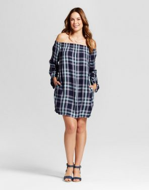 photo Plaid Off the Shoulder Dress by Knox Rose, color Navy - Image 1
