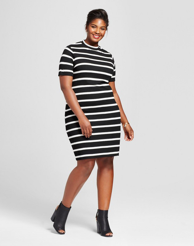 photo Plus Size Ribbed T-Shirt Dress by Ava & Viv, color Black Stripe - Image 1