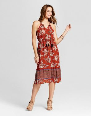 photo Paisley Border Print Dress by Knox Rose, color Red - Image 1