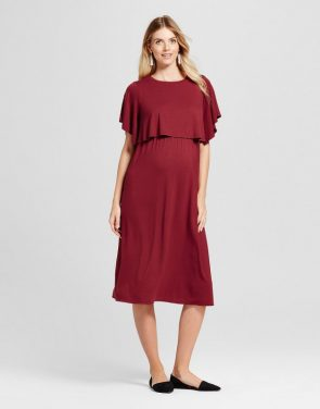 photo Maternity Short Sleeve Nursing Dress by Isabel Maternity by Ingrid & Isabel, color Berry Maroon - Image 1