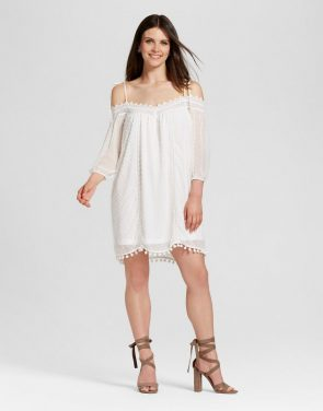 photo Off the Shoulder Dot Dress with Pom Poms by Layered with Love, color White - Image 1