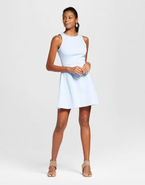 photo Ponte Scoop Neck Fit N' Flare Dress by Necessary Objects, color Ice Blue - Image 1