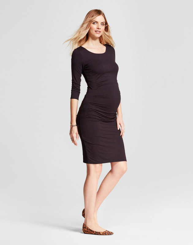 photo Maternity 3/4 Sleeve Pleated Dress by Isabel Maternity by Ingrid & Isabel, color Black - Image 1