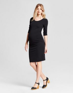 photo Maternity 3/4 Sleeve Shirred T-Shirt Dress by Isabel Maternity by Ingrid & Isabel, color Black - Image 1