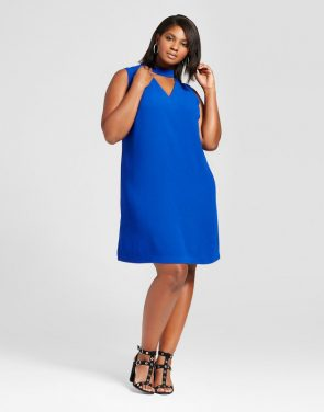 photo Plus Size Choker Shift Dress by Ava & Viv, color Blue - Image 1