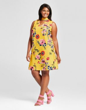 photo Plus Size Choker Floral Shift Dress by Ava & Viv, color Yellow - Image 1