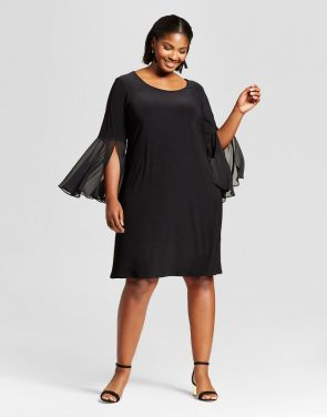 photo Plus Size Bell-Sleeve Dress by Chiasso, color Black - Image 1