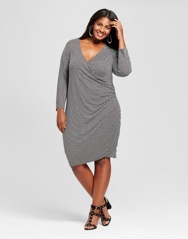 photo Plus Size Knit Wrap Dress by Ava & Viv, color Black/White - Image 1
