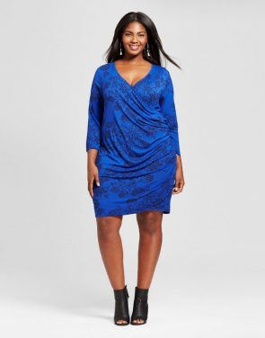 photo Plus Size Knit Wrap Dress by Ava & Viv, color Blue - Image 1