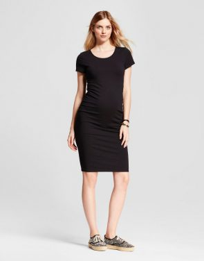 photo Maternity Short Sleeve Shirred T-Shirt Dress by Isabel Maternity by Ingrid & Isabel, color Black - Image 1