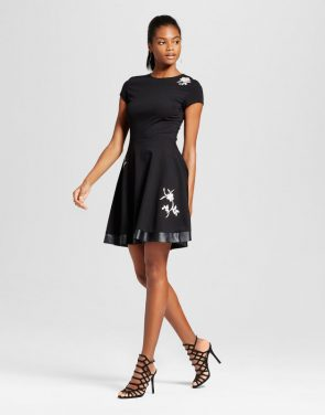 photo Embroidery Patch Ponte Fit n' Flare Dress by Necessary Objects, color Black - Image 1