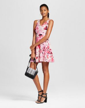 photo Printed Fit n' Flare Dress by Necessary Objects, color Multi - Image 1