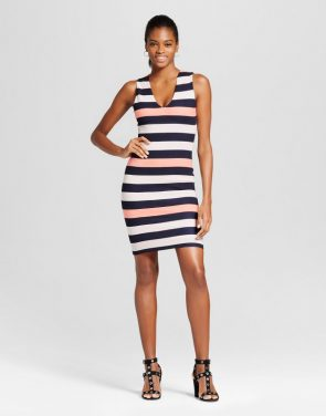 photo V-Neck Stripe Bodycon Dress by Necessary Objects
