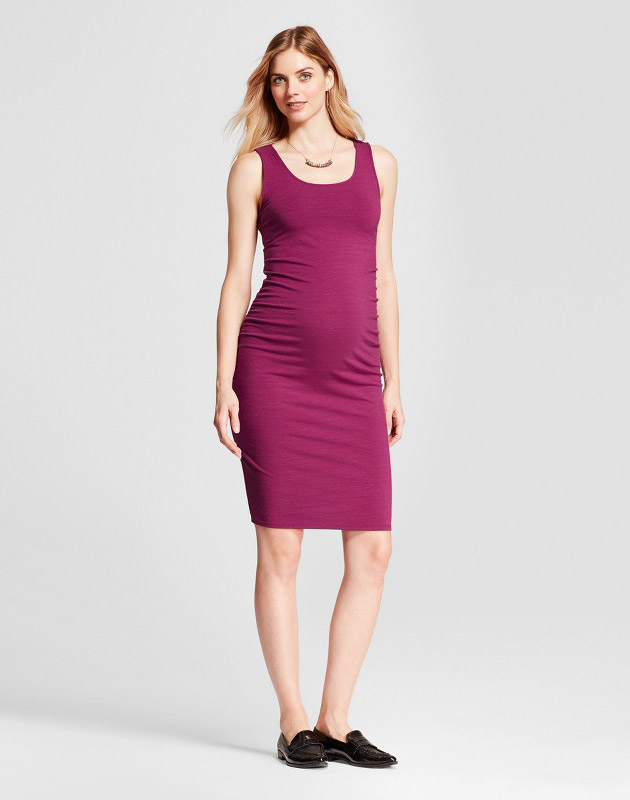 photo Maternity Shirred Tank Dress by Isabel Maternity by Ingrid & Isabel, color Berry Pink - Image 1