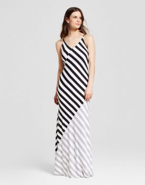 photo Colorblock Stripe Maxi Dress by Alison Andrews, color Black White - Image 1