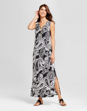 photo Paisley Printed Zipper Front Tank Dress by Chiasso, color Black/White - Image 1