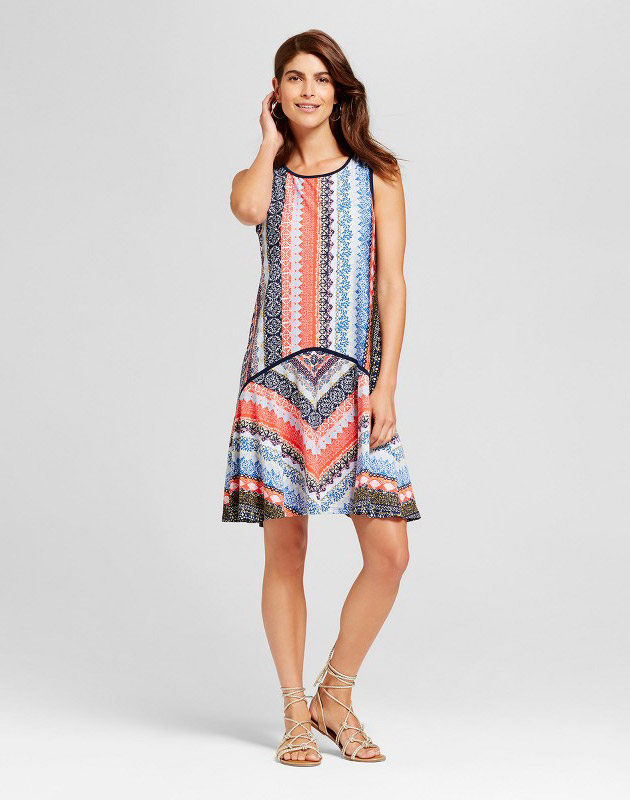 photo Mixed Stripe Tank Dress with Contrast Piping by Chiasso, color Blue/Coral - Image 1