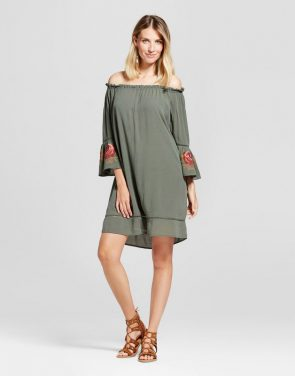 photo Embroidered Bell Sleeve Off the Shoulder Dress by Knox Rose, color Olive Green - Image 1