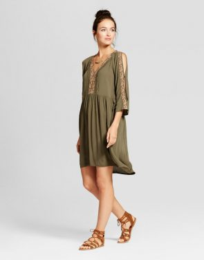 photo Embroidered Sleeve Cold Shoulder Dress by Knox Rose, color Olive Green - Image 1