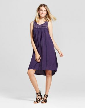 photo Embroidered Sleeveless Dress by Knox Rose, color Purple - Image 1
