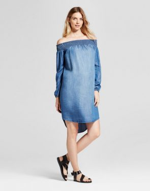 photo Maternity Off the Shoulder Denim Dress by Isabel Maternity by Ingrid & Isabel, color Blue - Image 1