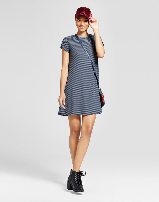 photo Striped Ruffle T-Shirt Dress by Mossimo Supply Co., color Navy/Olive - Image 1