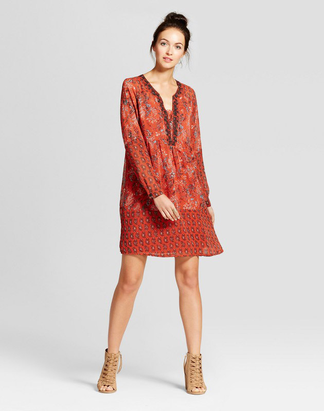photo Embroidered Border Print Dress by Knox Rose, color Orange - Image 1