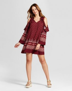 photo Border Print Cold Shoulder Dress by Knox Rose, color Red - Image 1