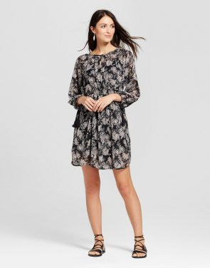 photo Lurex Paisley Print Dress by Knox Rose, color Black - Image 1
