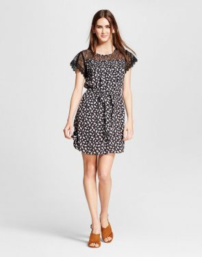 photo Lace Sleeve Printed Tie Waist Dress by Eclair, color Black Multi - Image 1
