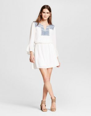 photo Embroidered Ruffle Sleeve Dress by Eclair, color White - Image 1
