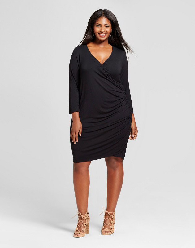 photo Plus Size Knit Wrap Dress by Ava & Viv, color Black - Image 1