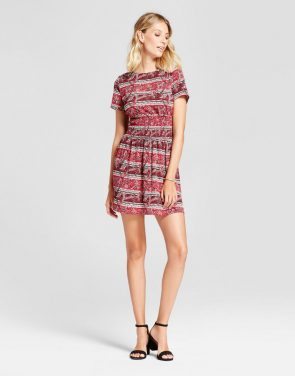 photo Mixed Print Smocked Waist Fit and Flare Dress by Isani for Target, color Red/Wine - Image 1