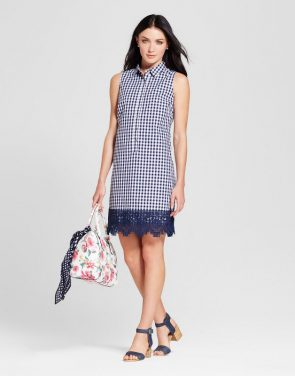 photo Gingham Trapeze Shirt Dress with Crochet Hem by Spenser Jeremy, color Navy/Ivory - Image 1