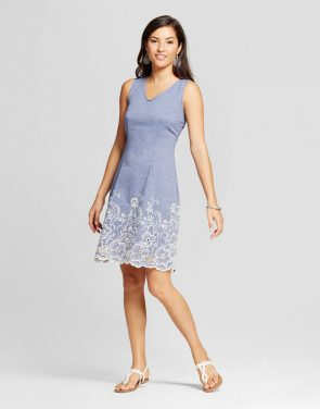 photo Embroidered Denim Tank Dress by Zac & Rachel, color Light Blue - Image 1