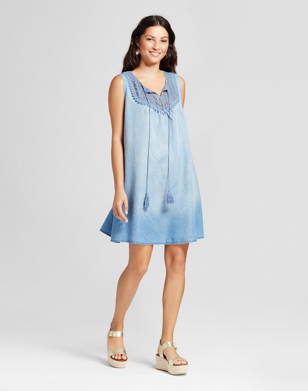 photo Stripe Printed Off the Shoulder Dress with Pom Poms by Spenser Jeremy, color Blue White - Image 1