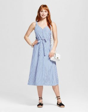 photo Sleeveless Pinstripe Dress - J by J.O.A., color White Blue Stripe - Image 1