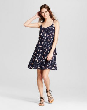 photo Printed A-Line Dress by Layered with Love, color Navy Floral - Image 1