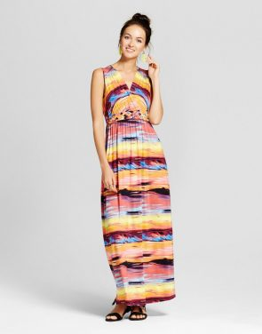 photo Printed Maxi Dress with Knotted Belt by Spenser Jeremy, color Multi - Image 1