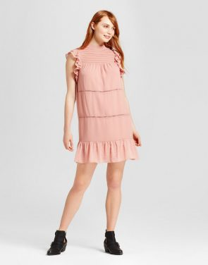 photo Chiffon Mini Dress by Who What Wear, color Pink - Image 1
