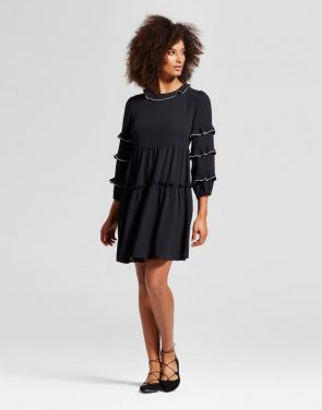 photo Ruffle Dress With Contrast Trim by Who What Wear, color Black - Image 1