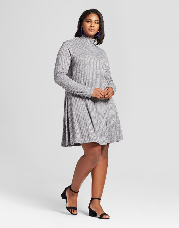 photo Plus Size Ribbed Swing Dress by Ava & Viv, color Black - Image 1