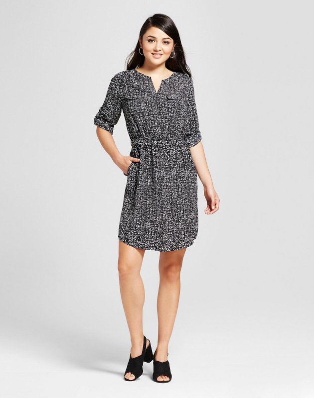photo Convertible Sleeve Shirt Dress by Mossimo, color Black/White Print - Image 1